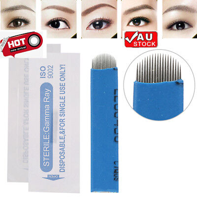 100Pcs Makeup Eyebrow Tattoo Manual Microblading Sterile 18U Needle Pin Blade AU