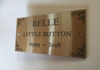 Urn Marker Plaque Engraved Memorial Stainless Steel 2 Mounting Holes 100x50mm