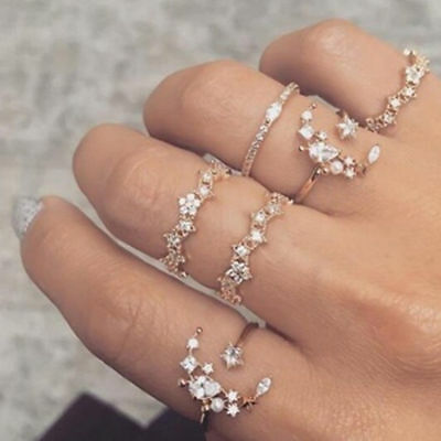 5Pcs/Set Boho Vintage Crystal Silver Star Flower Stackable Sparkly Rings Jewelry