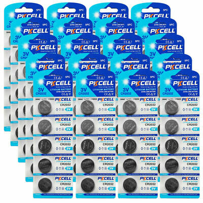 100x 3V Bulk Coin Cell CR2032 DL2032 ECR2032 Watch Remote Control Battery PKCELL