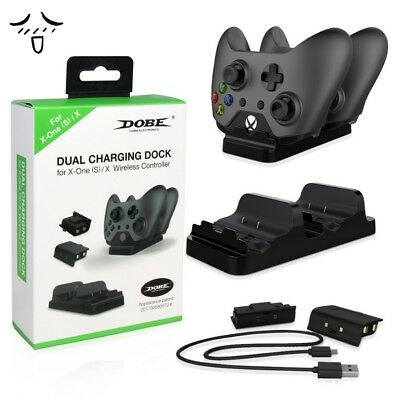 for XBOX One Dual Charging Dock Station Controller Charger + 2Extra Battery Pack