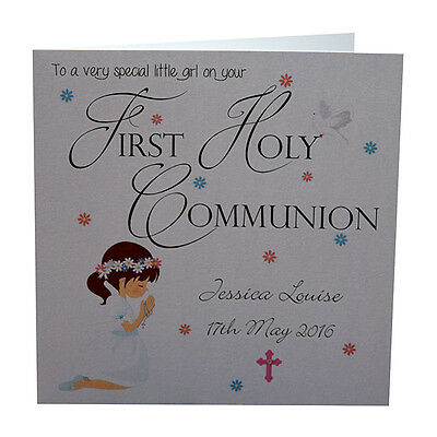 First Holy Communion Card, Personalised, Handmade, Luxury, Dark Haired Girl