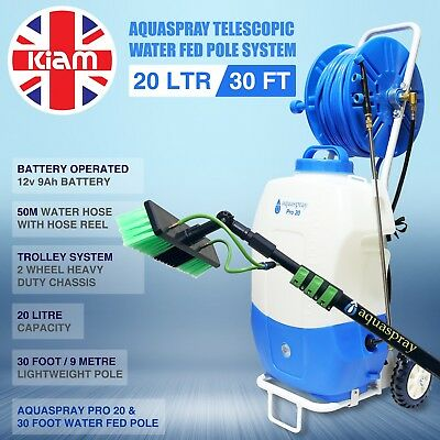 30ft Telescopic Water Fed Pole & 20L Spray Tank Window Cleaning Trolley System