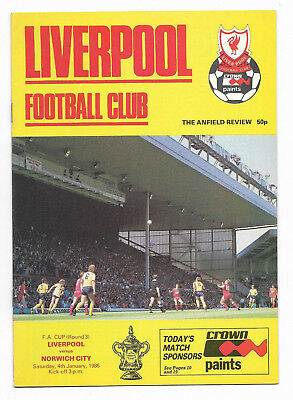1985/86 FA Cup 3rd Round - LIVERPOOL v. NORWICH CITY