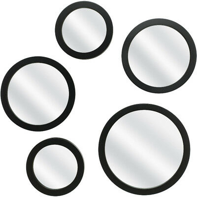 Mirror Set Of 5 Wall Mounted Matte Black Frame Home Decor Hanging Round Mirrors