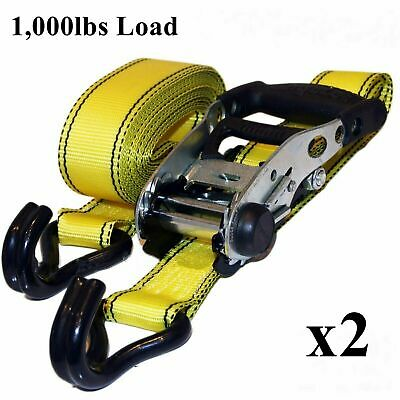 NEW 2 x Crew Line Heavy Duty Ratchet Strap - 1000lbs Load Tie Downs Lashing
