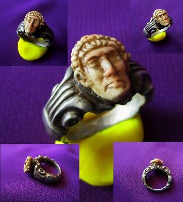 Ancient ROMAN SILVER RING > CONSTANTINE the GREAT < STONE CAMEO certificated