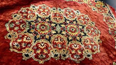 """COLORFUL ANTIQUE FRENCH SILK/COTTON VELVET TABLECLOTH TOP CONDITION 61x53"""""""