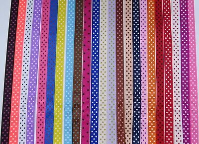 10mm Polka Dot Grosgrain Ribbon 24 colours card making craft Hair Clip