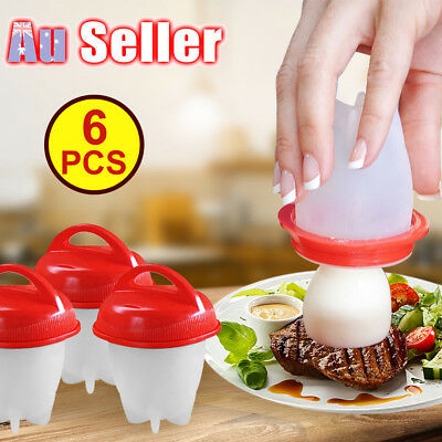6 pcs Egglettes Hard Boil Cooker Poacher Kitchen Tools Silicone Eggs Cup Steamer