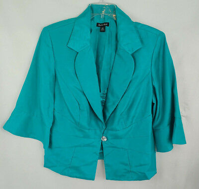 ca5e27c8c7a Womens Dana Kay Plus Size Button Front Formal Jacket 3 4 Sleeves Sz 18W Teal