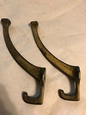 "2 Large 0Ld 5"" Antique Cast Iron Mission Arts Craft Craftsman Wall Coat Hat Hook"
