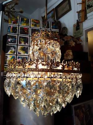 ANTIQUE CHANDELIER FRENCH BASKET STYLE BRASS CRYSTAL LAMP   Ø 13.3 dmtr 1970's