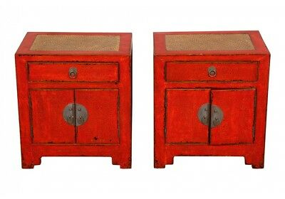 Pair Of Contemporary Oriental Red Lacquered Cabinets 71631
