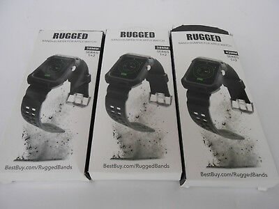 LOT OF 3  Exclusive - Rugged Strap for Apple Watch 42mm + 32mm - Black