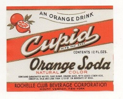 12oz CUPID ORANGE SODA LABEL by THE ROCHELLE CLUB BEVERAGE CORP MOUNT VERNON NY