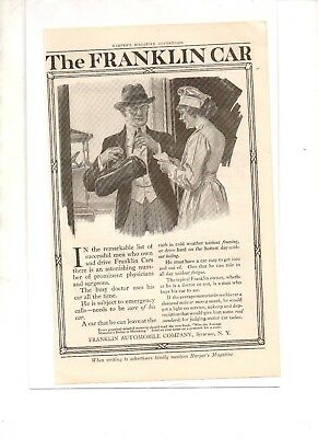 1916 HARPER'S MAGAZINE ADD for FRANKLIN CAR by FRANKLIN AUTOMOBILE CO SYRACUSE