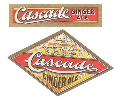 1910 ish CASCADE GINGER ALE BOTTLE LABEL by THE BROUGH CO INC CLEVELAND OHIO *B