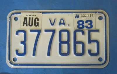 1983 Virginia Motorcycle License Plate