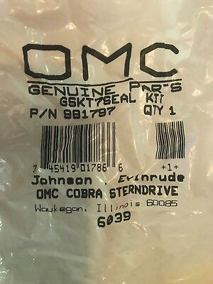 Genuine OMC PN 0981797, 981797 Gearcase Gasket and Seal kit Brand New