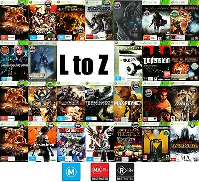 💙XBOX 360 Games Rated M & OVER ●ҩ GAME TITLES STARTING WITH L to Z ҩ●  16/06/18