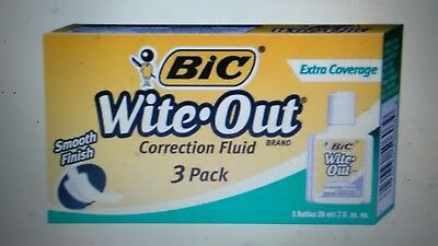 BIC Wite-Out Extra Coverage Correction Fluid, 20 ml Bottle, Pack of 3