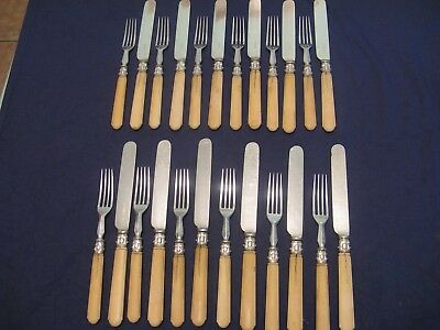 24 Antique Victorian Silver Plate Dessert Cutlery Set Ornate Carved Handles