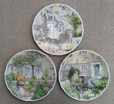 ROYAL ALBERT - CATS AND COTTAGES by RICHARD PARTIS - SELECTION OF PLATES