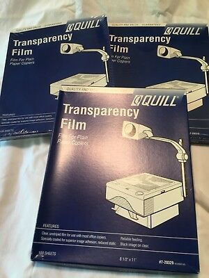 """3 Boxes Quill Transparency Film For Plain Copiers- 100 Sheets 8 1/2"""" x 11"""" - NEW"""