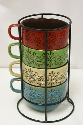 Pier 1 Imports Set Of 4 Stackable Coffee Mugs With Wire Rack Holder Colorful