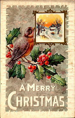 Postcard A Merry Christmas embossed card Holly 1917