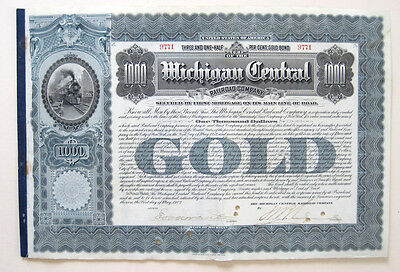 Michigan Central Railroad $1000 Bond 1902