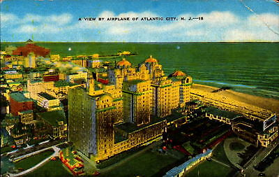 Postcard A View of Airplane Atlantic City New Jersey Unused