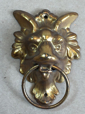 Antique Lion Head Drawer Pull with Ring Brass Decorative Ornate Design