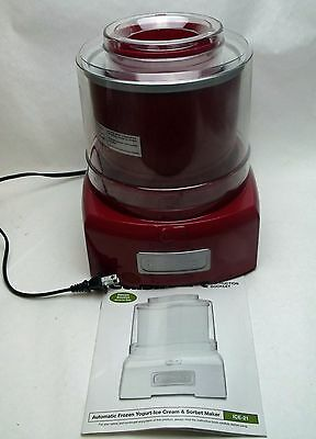 Cuisinart ICE-21R Frozen Yogurt Ice Cream & Sorbet Maker Red