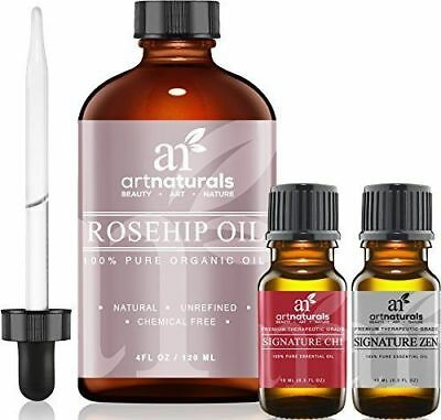 Art Naturals Rosehip Seed Oil 3 Piece Set - 100% Certified Organic - Pure Cold &