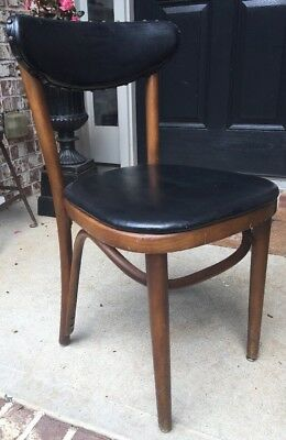 Vintage Shelby Williams Steam Bent Parlor Chair, Black Vinyl, Rare