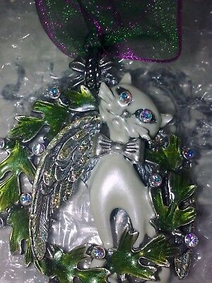 Kirks folly cat hanging ornament with laurel and crystals and ribbon