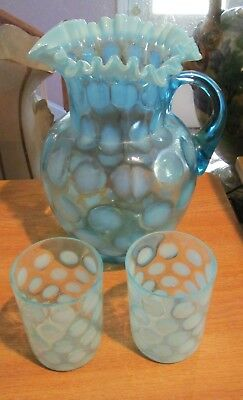 """Early Fenton Blue Opalescent Ruffled Rim COINSPOT 9.5"""" Pitcher w/2 Glasses"""