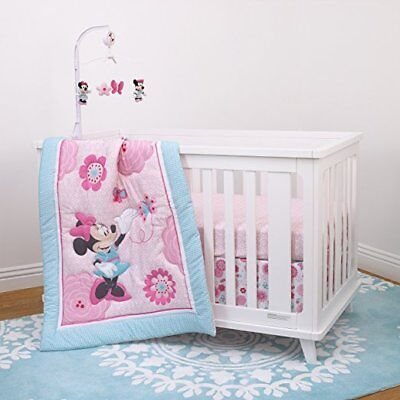 4pc Disney Minnie Mouse Baby Girl Crib Bedding & Musical Mobile Set
