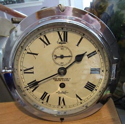 Antique SESTREL Ship's Clock - Henry Browne & Sons, LTD - Barking & London