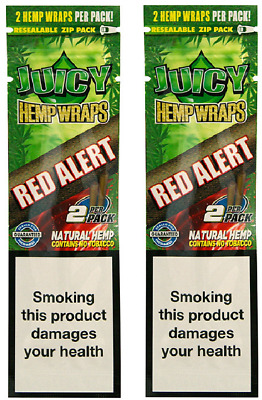 Juicy Hemp Wraps King Size Rolling Papers 2 Pack (4 Pcs) Strawberry (Red Alert)