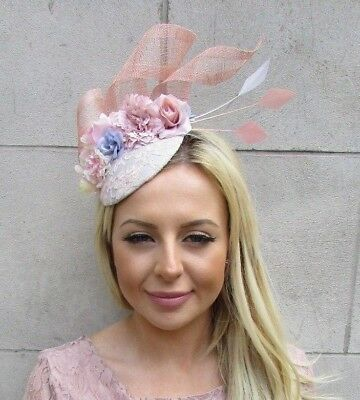 Grey Blush Nude Light Pink Flower Feather Pillbox Hat Fascinator Races Hair 5868