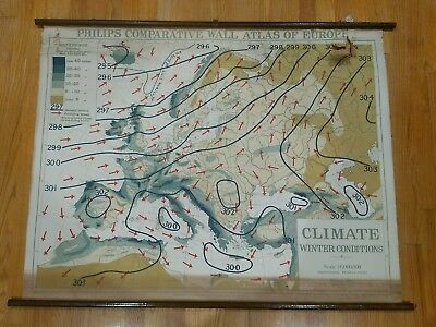 Vintage Philips' WALL Atlas EUROPE WINTER CLIMATE school Map Denoyer see photos
