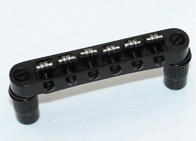 Roller Saddle Tune-O-Matic Bridge BLACK for Import Epiphone Les Paul SG ES Dot