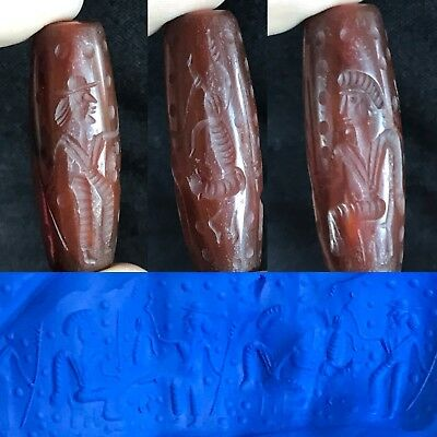 Rare Old Carnelian Agate Stone Cylinder Seal