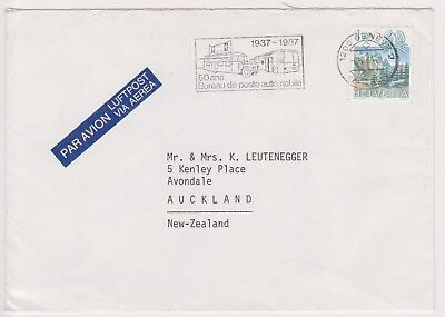 (K81-86) 1987 Sweden air mail envelope to Auckland NZ used (CM)