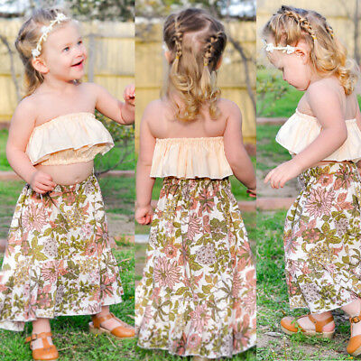 979d47d288b 2018 Toddler Kid Baby Girl Summer Clothes Off Shoulder Tops+Floral Dress  Outfit