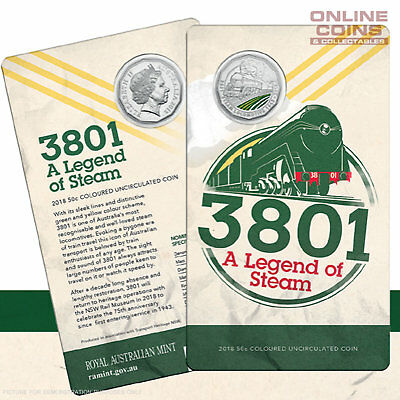 2018 50c COLOURED UNCIRCULATED COIN IN CARD - 3801 - A LEGEND OF STEAM