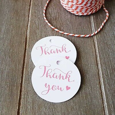 24x Pink THANK YOU Gift Tags Wedding Favour Baby Shower Bomboniere